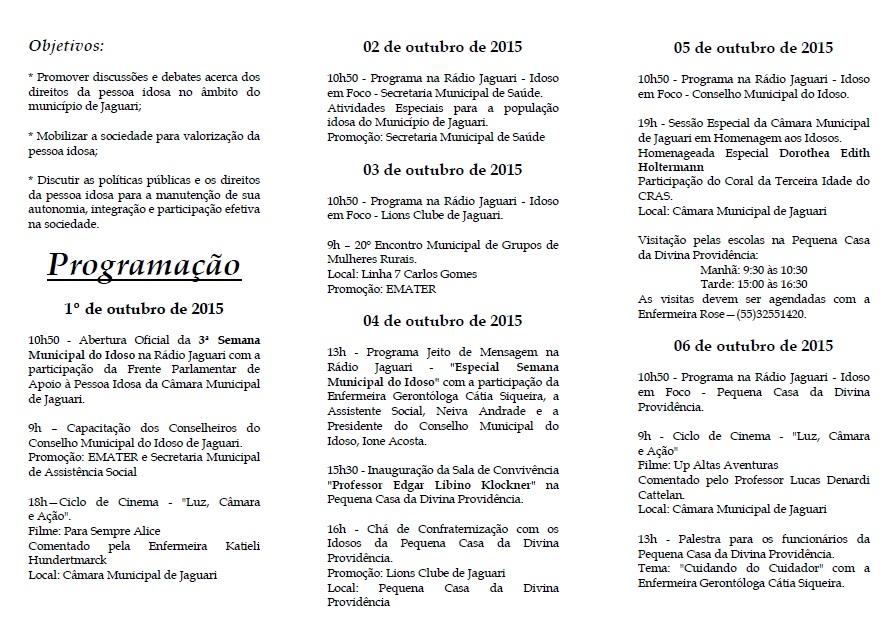 3ª Semana Municipal do Idoso - Folder 01