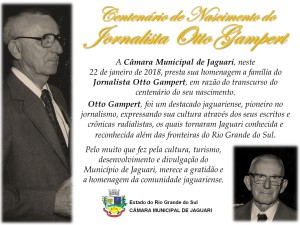 Otto Gampert - Centenário 22 01 2018
