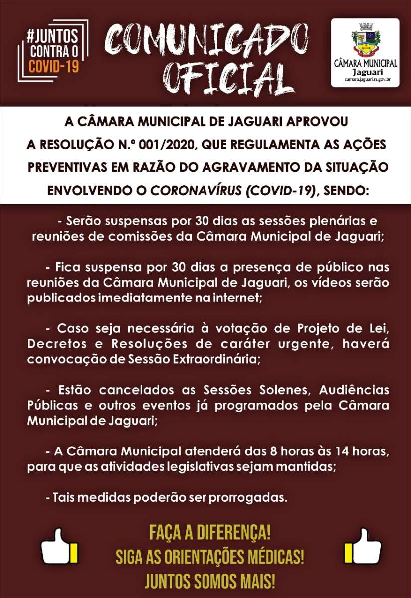 Notícia sobre Câmara Municipal de Jaguari adota medidas preventivas contra o Coronavírus