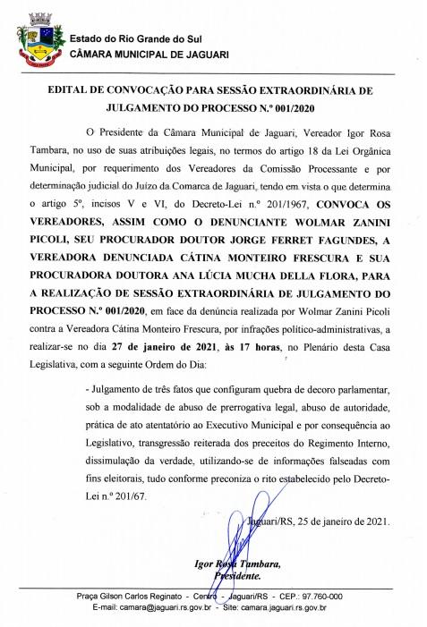 Notícia sobre EDITAL DE CONVOCAÇÃO PARA SESSÃO EXTRAORDINÁRIA DE JULGAMENTO DO PROCESSO N.º 001/2020